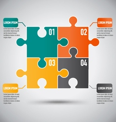 Square puzzle piece infographics template with vector
