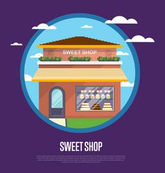 sweet shop banner in flat design vector image vector image