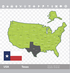 Texas flag and map vector