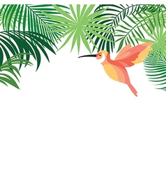Tropical Leaves and colibri vector image vector image