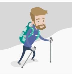 Young mountaneer climbing a snowy ridge vector