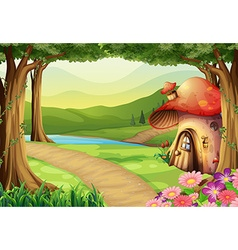 Mushroom house in the woods vector