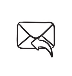 Sending email sketch icon vector