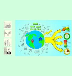 infographic horizontal banner cartoon style vector image