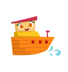 Orange and yellow small boat cute girly toy vector