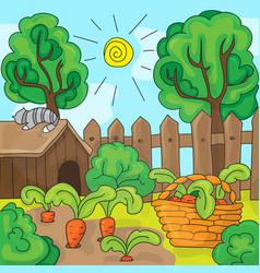 cartoon garden with carrots vector image