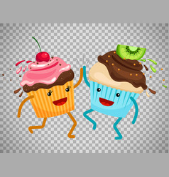 Cupcakes clap hands on transparent background vector
