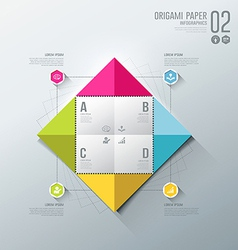 Infographics Origami colorful paper for business vector image