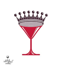 Martini glass with royal crown stylized goblet vector