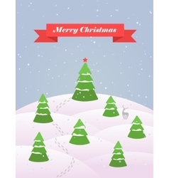 Christmas card with snowy forest flat vector
