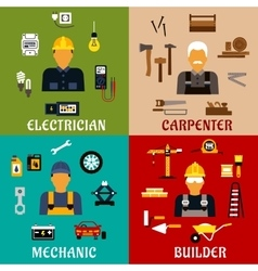 Builder electrician mechanic and carpenter icons vector image