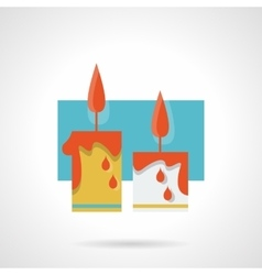 Burning wax candles flat color icon vector