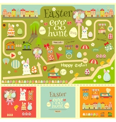 Easter invitation card and easter elements vector