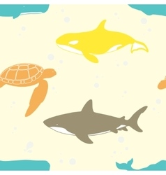 Seamless pattern with marine animals vector image