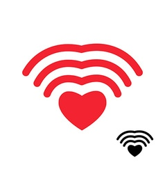 Wifi and heart wireless transmission of love wi fi vector