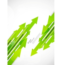 Background with green arrows vector image