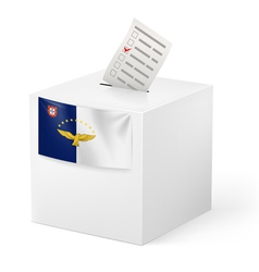 Ballot box with voting paper azores vector