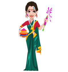 Beautiful indian woman holding pot with colored vector