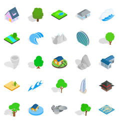 Block icons set cartoon style vector