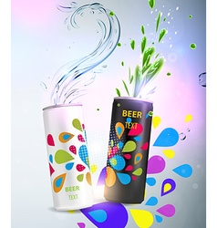 Can design with water elements vector