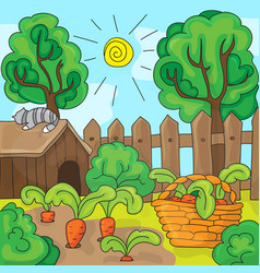 cartoon garden with carrots vector image