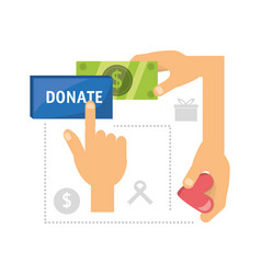 Cash money donation support to charity of the vector
