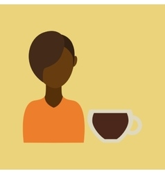Coffee maker girl icon graphic vector