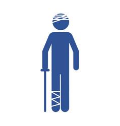 Color silhouette pictogram bandaged patient icon vector
