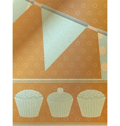 Cupcakes and bunting over brownpaper background vector image