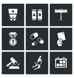 Doping test icon set vector