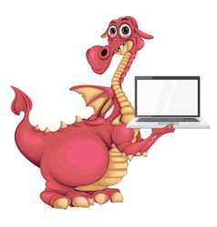 Dragon with notebook vector