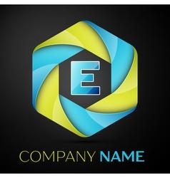 E letter colorful logo in the hexagonal on black vector