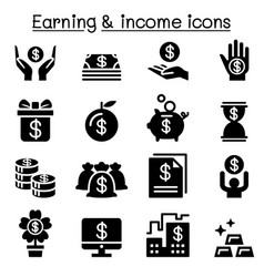 earning money income icon set vector image vector image