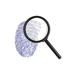 Fingerprint with magnifying glass binary code vector
