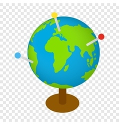 Globe with markers isometric 3d icon vector