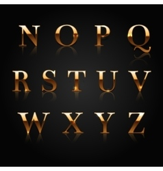 Golden alphabet vector