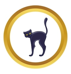 Halloween black cat icon vector