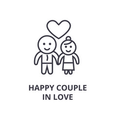 happy couple in love line icon outline sign vector image vector image