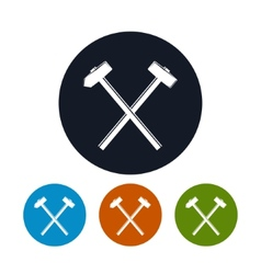Icon of a crossed hammer and sledgehammer vector
