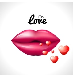 Kiss lips Valentine background with hearts love vector image
