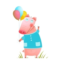 Little Adorable Baby Pig with Balloons for Kids vector image vector image