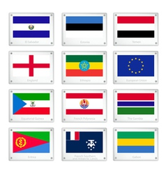 National flags on metal texture plate vector