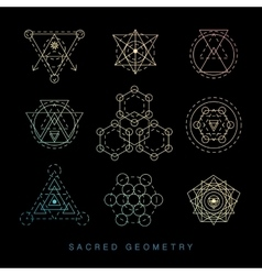 Sacred geometry signs set linear modern art vector