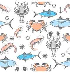 Seafood pattern vector image