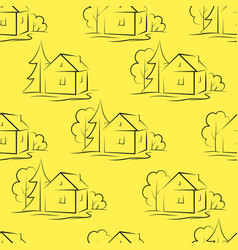 seamless background houses vector image vector image
