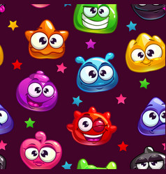 seamless pattern with cute cartoon jelly vector image vector image