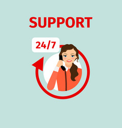 Support service circle icon with woman vector