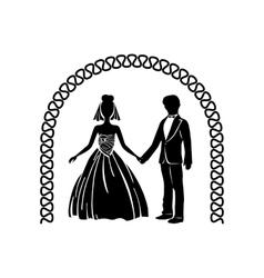 Wedding ceremony arch simple icon vector
