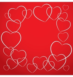 White heart on red background card desig vector