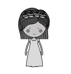 monochrome bride with dress and crown of roses vector image